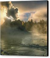 Dawn On Castle Geyser Canvas Print by Sandra Bronstein
