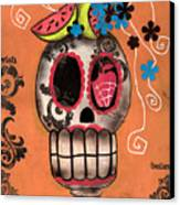 Day Of The Dead Watermelon Canvas Print by  Abril Andrade Griffith