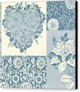 Deco Heart Blue Canvas Print by JQ Licensing