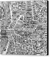 Detail From A Map Of Paris In The Reign Of Henri II Showing The Quartier Des Ecoles Canvas Print by French School