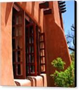 Detail Of A Pueblo Style Architecture In Santa Fe Canvas Print by Susanne Van Hulst