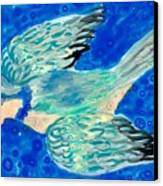 Detail Of Bird People Flying Bluetit Or Chickadee Canvas Print by Sushila Burgess