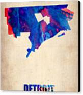 Detroit Watercolor Map Canvas Print by Naxart Studio