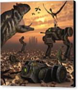Dinosaurs And Robots Fight A War Canvas Print by Mark Stevenson