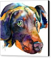 Doberman Watercolor Canvas Print by Christy  Freeman