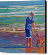 Dog Beach Play Canvas Print by Thomas Bertram POOLE