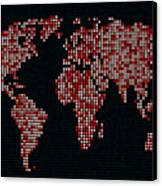Dot Map Of The World - Red Canvas Print by Michael Tompsett
