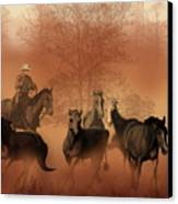 Driving The Herd Canvas Print by Corey Ford