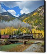 Durango-silverton Twin Bridges Canvas Print by Inge Johnsson