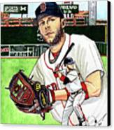 Dustin Pedroia Canvas Print by Dave Olsen