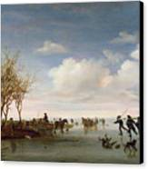 Dutch Landscape With Skaters Canvas Print by Salomon van Ruysdael