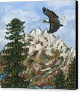Eagle To Eaglets In Nest Canvas Print by Tanna Lee M Wells