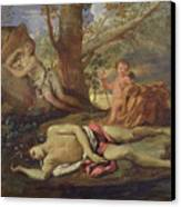 Echo And Narcissus  Canvas Print by Nicolas Poussin