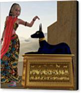 Egyptian Woman And Anubis Statue Canvas Print by Corey Ford