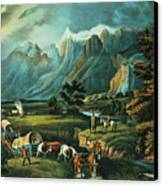 Emigrants Crossing The Plains Canvas Print by Currier and Ives