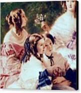 Empress Eugenie And Her Ladies In Waiting Canvas Print by Franz Xaver Winterhalter