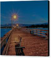 Empty Pier Glow Canvas Print by Connie Cooper-Edwards
