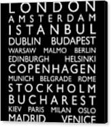 Europe Cities Bus Roll Canvas Print by Michael Tompsett