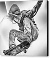 Extreme Skateboard Jump Canvas Print by Julie L Hoddinott