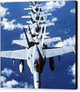 Fa-18c Hornet Aircraft Fly In Formation Canvas Print by Stocktrek Images