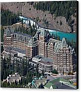 Fairmont Banff Springs Hotel With The Bow River Falls Banff Alberta Canada Canvas Print by George Oze