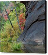 Fall Colors Peek Around Mountain Vertical Canvas Print by Heather Kirk