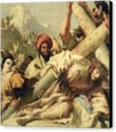 Fall On The Way To Calvary Canvas Print by G Tiepolo