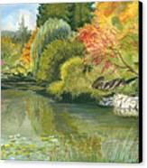 Fall Reflections Butchart Gardens Canvas Print by Vidyut Singhal
