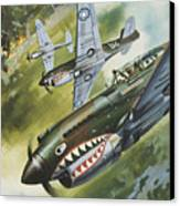 Famous Aircraft And Their Pilots Canvas Print by Wilf Hardy