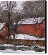 Farm - Barn - Winter In The Country  Canvas Print by Mike Savad
