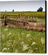 Farm Work Wiind And Rain Canvas Print by Douglas Barnett