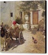 Farm Yard Scene Canvas Print by Henry Herbert La Thangue
