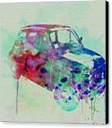 Fiat 500 Watercolor Canvas Print by Naxart Studio