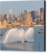 Fire Boat And Manhattan Skyline Iv Canvas Print by Clarence Holmes