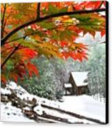 Fire Fog And Snowy Fence Canvas Print by Debra and Dave Vanderlaan