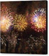 Fire Works Show Stippled Paint 3 France Canvas Print by Dawn Hay