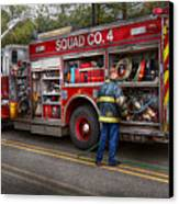 Firemen - The Modern Fire Truck Canvas Print by Mike Savad