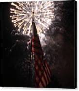 Fireworks Behind American Flag Canvas Print by Alan Look