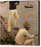 Fisher Boys Falmouth Canvas Print by Henry Scott Tuke