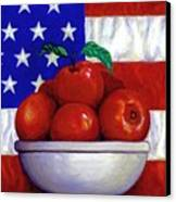 Flag And Apples Canvas Print by Linda Mears