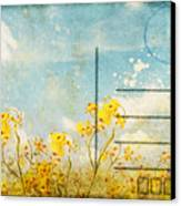 Floral In Blue Sky Postcard Canvas Print by Setsiri Silapasuwanchai