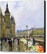 Flower Sellers By The Seine Canvas Print by Georges Stein
