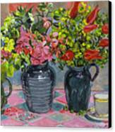 Flowers And Pitchers Canvas Print by David Lloyd Glover