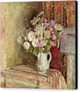 Flowers In A Vase Canvas Print by Edouard Vuillard