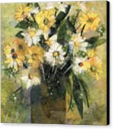 Flowers In White And Yellow Canvas Print by Nira Schwartz