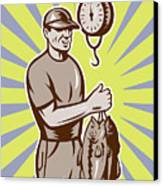 Fly Fisherman Weighing In Fish Catch  Canvas Print by Aloysius Patrimonio