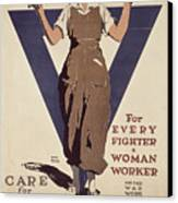 For Every Fighter A Woman Worker Canvas Print by Adolph Treidler
