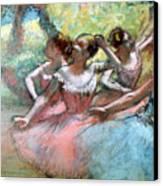 Four Ballerinas On The Stage Canvas Print by Edgar Degas
