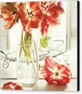 Fresh Spring Tulips In Old Milk Bottle  Canvas Print by Sandra Cunningham