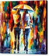 Friends Under The Rain Canvas Print by Leonid Afremov